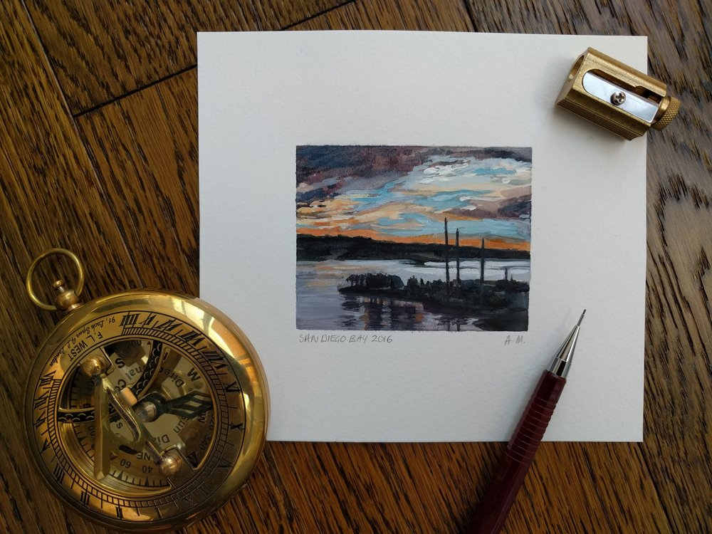 Miniature plein air small watercolour painting of colourful sunset and yachts in San Diego Bay harbour
