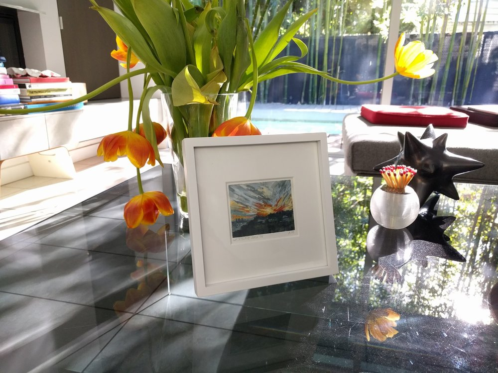 small miniature tiny art plein air watercolour painting of golden hour sunset in Hollywood Hills Los Angeles California