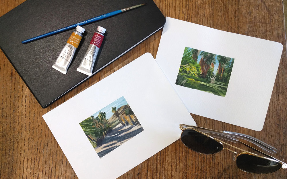 Miniature plein air watercolour small paintings of an oasis in the California desert at 29 Palms Inn with palm trees