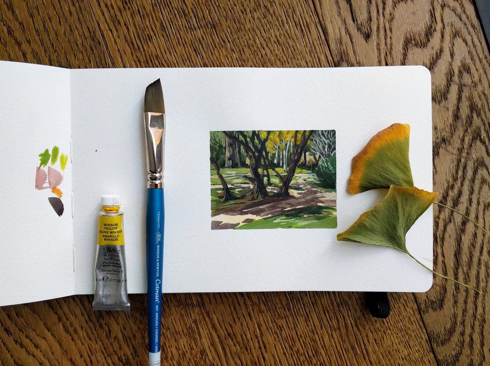 small miniature plein air watercolour painting of end of summer garden fall colour autumm trees Los Angeles California