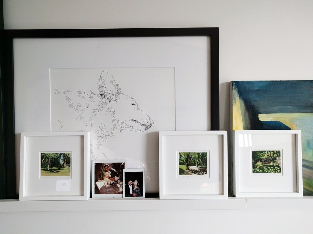 Three miniature paintings, gallery view, My Small Paintings framed watercolour tiny art of sunlight through trees in shady garden South of France