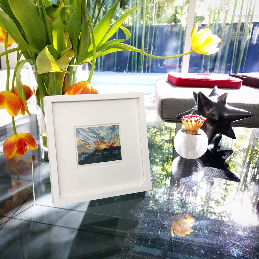 My Small Paintings miniature plein air watercolour painting of golden hour sunset in Hollywood Hills Los Angeles California 'Los Angeles Skyline' - on a collector's coffeetable