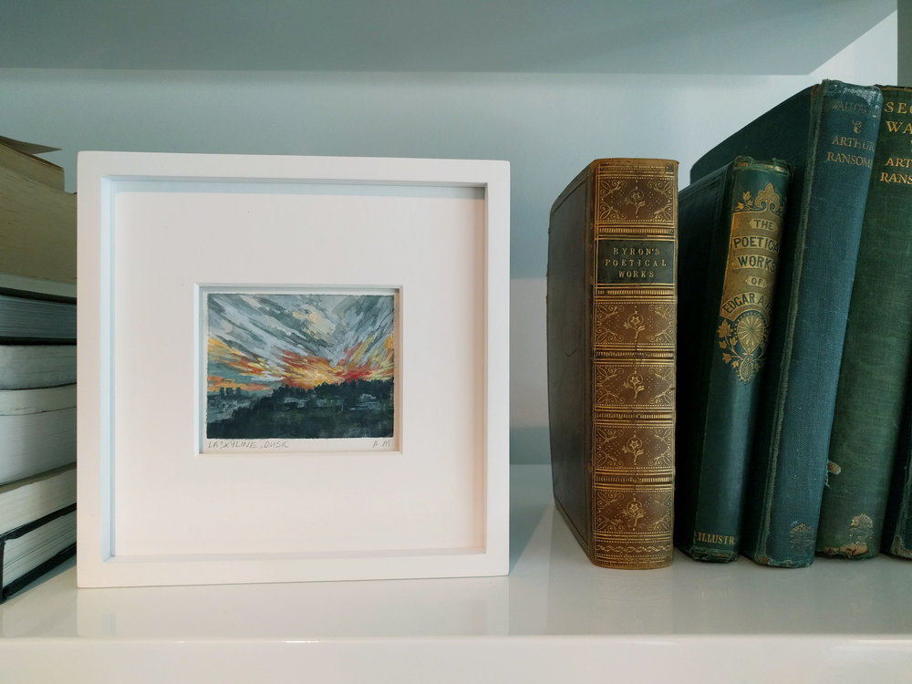 small framed miniature plein air watercolour painting of golden hour sunset in Hollywood Hills Los Angeles California