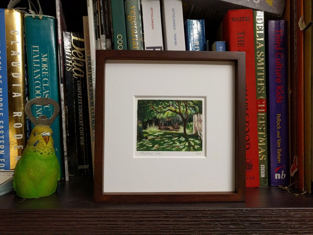 My Small paintings tiny framed miniature watercolour plein air painting 'Shelter' of shady tree with dappled sunlight shadows sunny garden California summertime