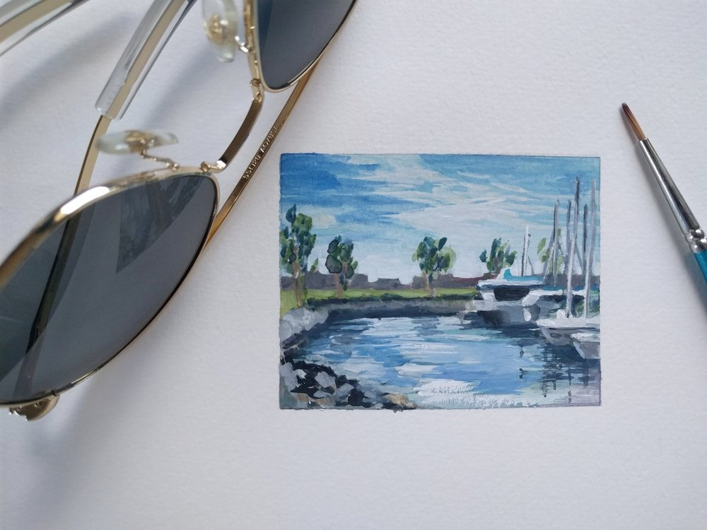 small miniature tiny art plein air watercolour painting of sailing yachts in San Diego Bay marina - sketchbook view