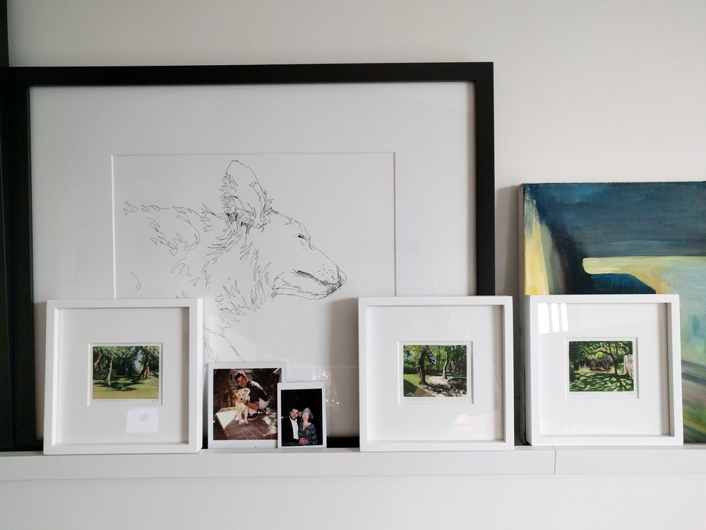 small miniature plein air watercolour paintings of trees and gardens gallery wall display picture rail