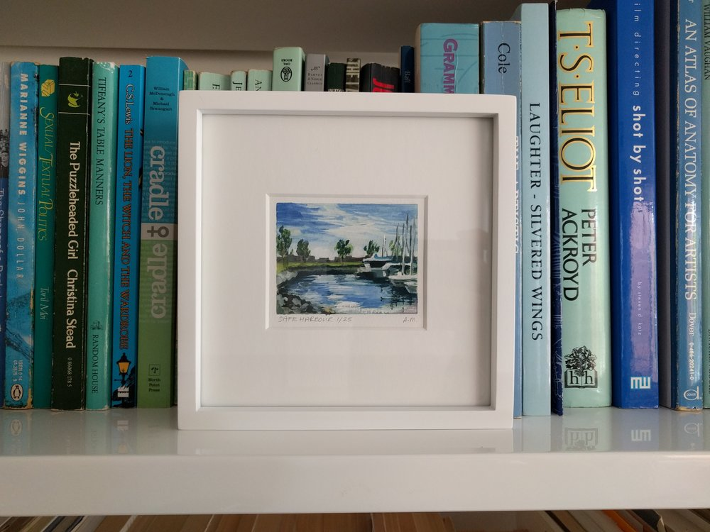 small miniature tiny art plein air watercolour painting of sailing yachts in San Diego Bay marina - display small art on bookcase