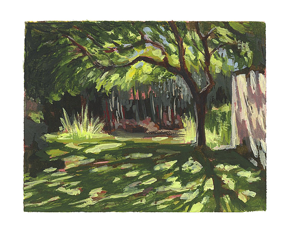 My Small paintings tiny miniature watercolour plein air framed painting 'Shelter' of shady tree with dappled sunlight shadows sunny garden California summertime