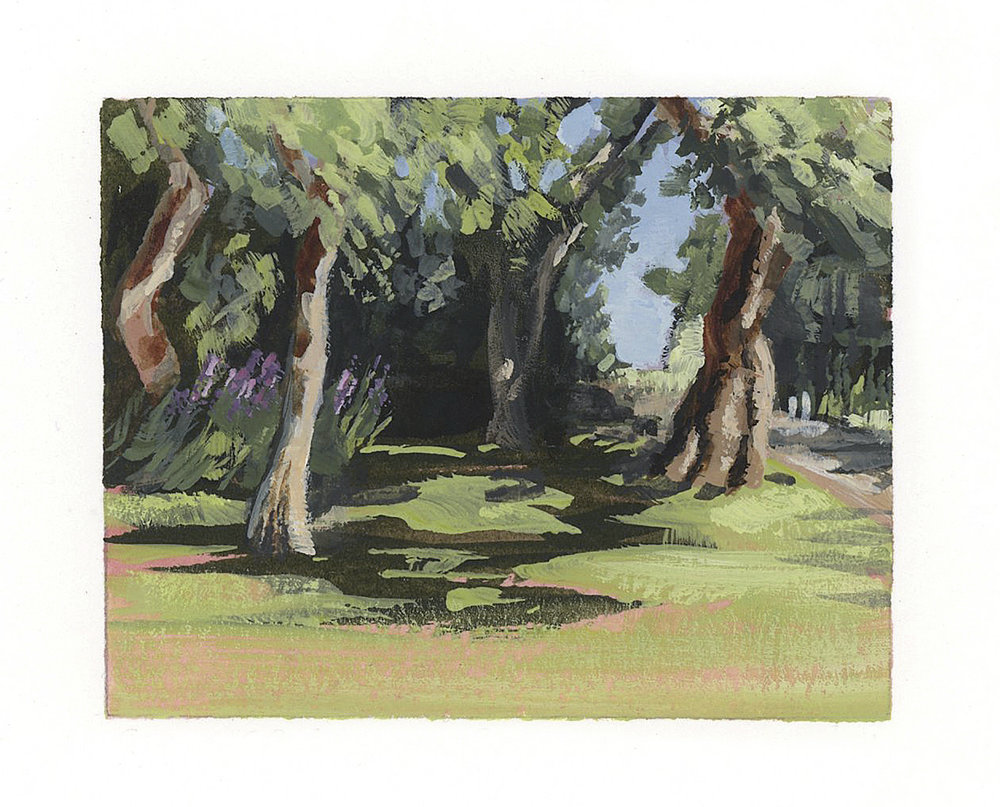 My Small Paintings framed miniature watercolour tiny art of shade trees in summer garden California