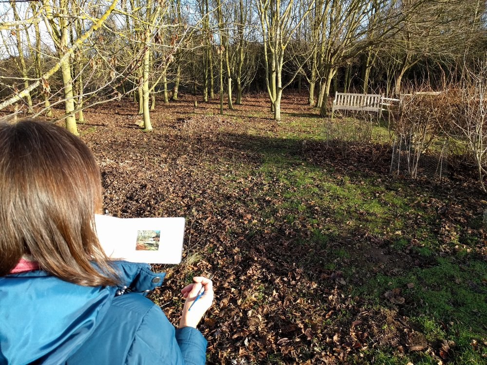Artist miniaturist Amanda painting plein air in Girton, Cambridgeshire, for My Small Paintings