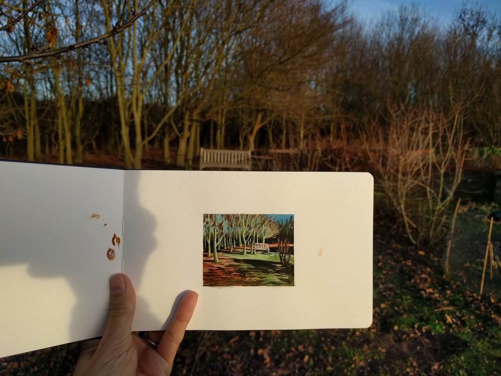 My Small Paintings miniature watercolour tiny art of winter garden with Ash trees, fall color and garden bench - sketchbook view