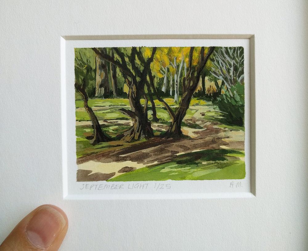 My Small Paintings miniature watercolour tiny art of autumn garden