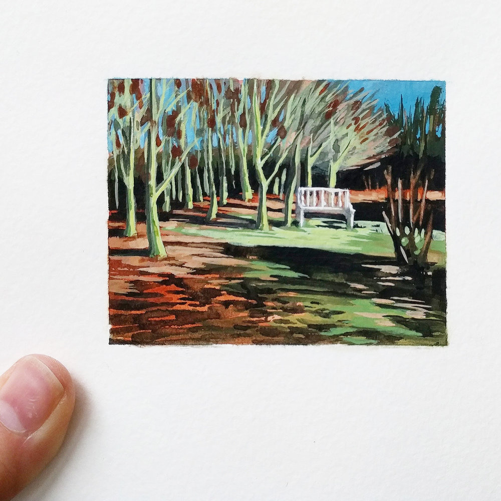 My Small Paintings miniature watercolour tiny art of winter garden with Ash trees, fall color and garden bench