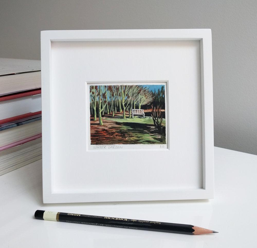 Miniature framed plein air watercolour painting 2x3 inches - white frame
