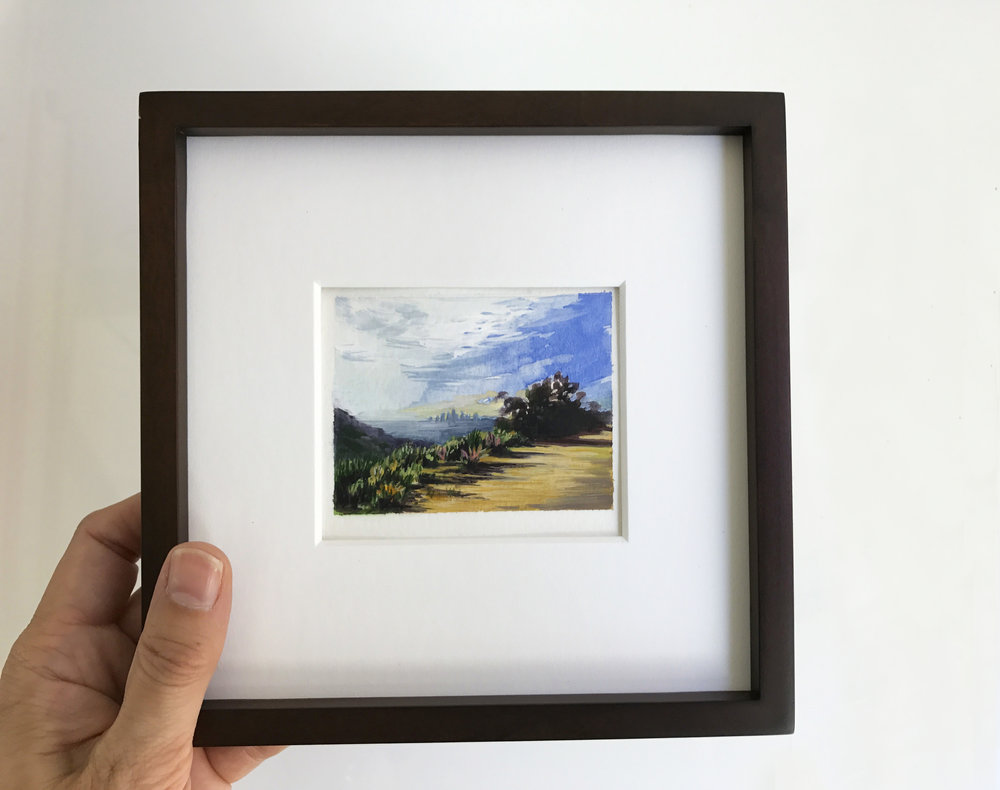 Miniature painting of downtown Los Angeles at dawn seen from Hollywood Hills