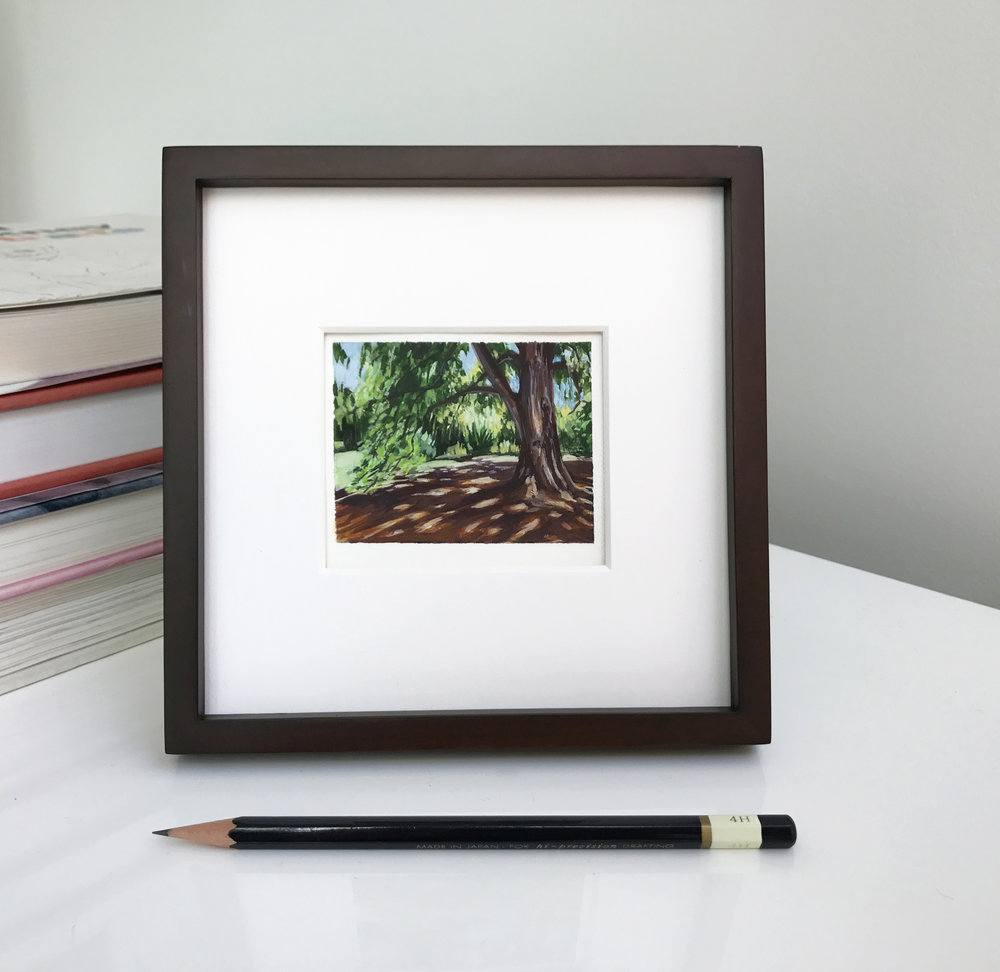 My Small paintings tiny art miniature framed watercolour plein air painting of shady tree with dappled sunlight shadows sunny Huntington Gardens, Pasadena, summer