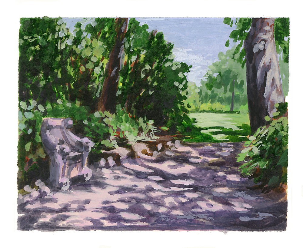 My Small Paintings miniature watercolour tiny art of dappled path at the Huntington Gardens