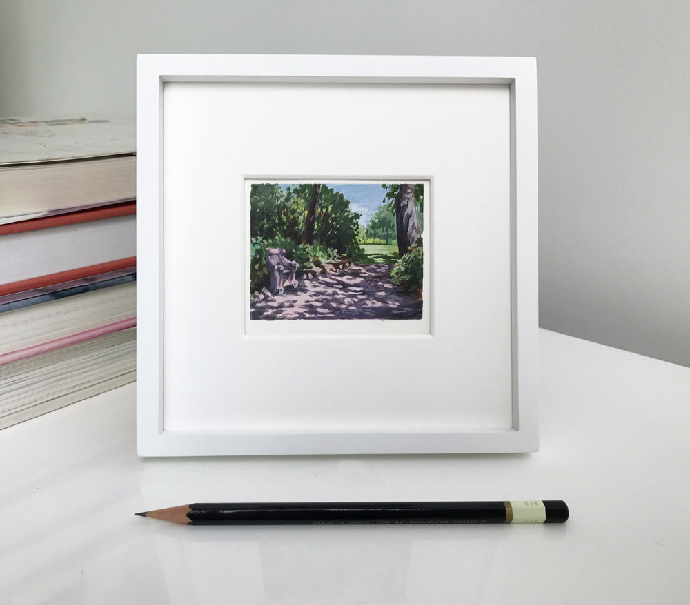 My Small Paintings framed miniature watercolour tiny art of dappled path at the Huntington Gardens