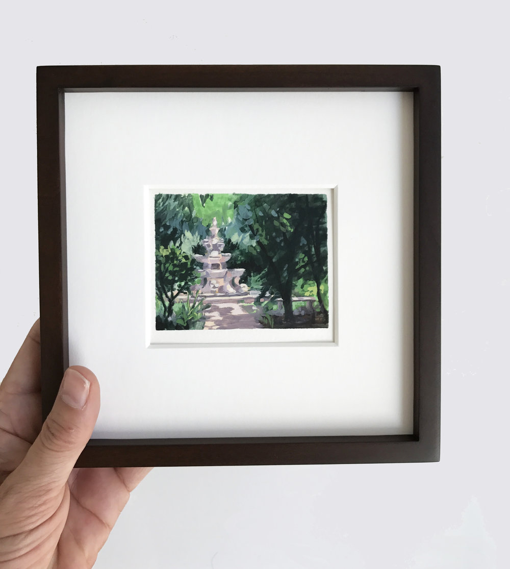 Miniature plein air watercolour painting of Renaissance fountain by My Small Paintings at the Huntington Gardens, CA