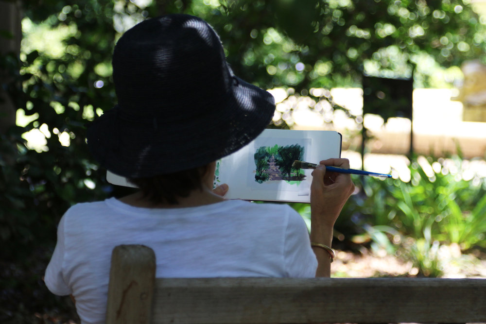 Artist miniaturist Amanda painting plein air at the Huntington Gardens, San Marino, CA, for My Small Paintings