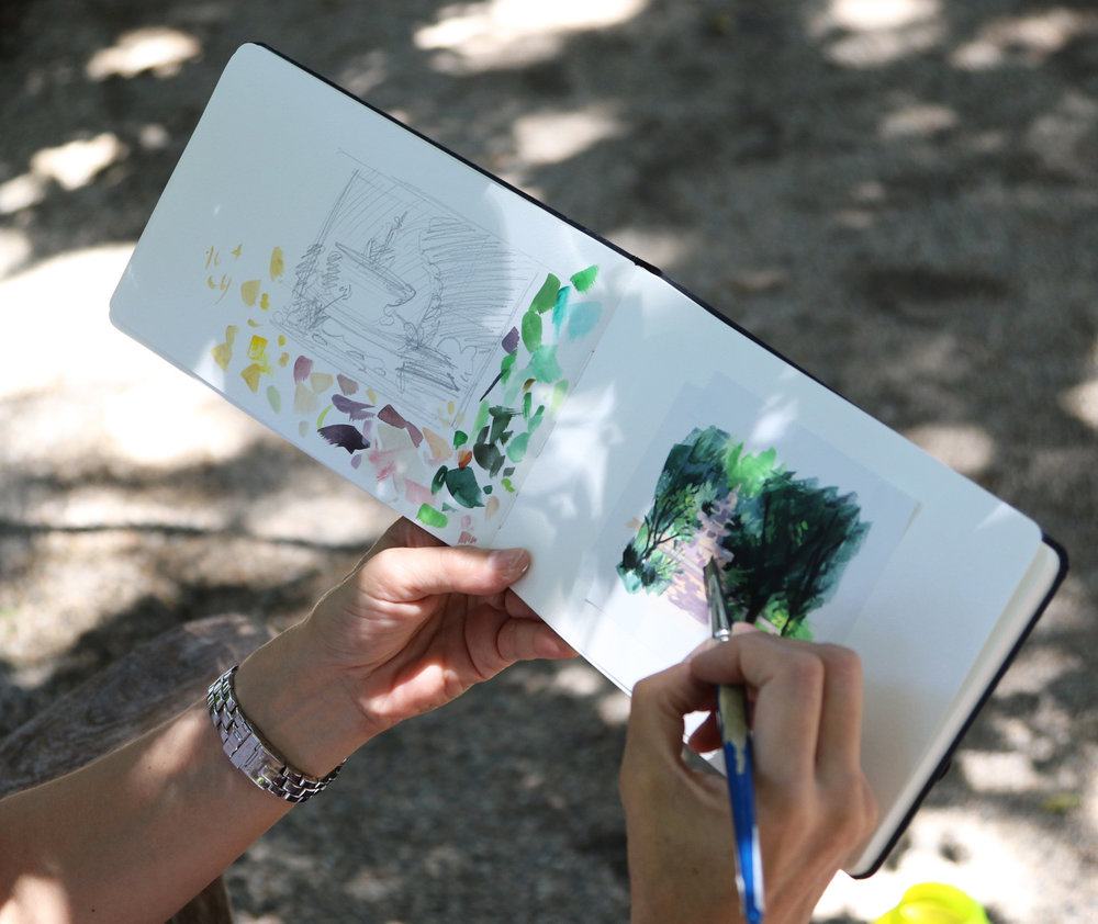 My Small Paintings sketchbook view of miniature watercolour tiny art of Renaissance fountain at the Huntington Gardens