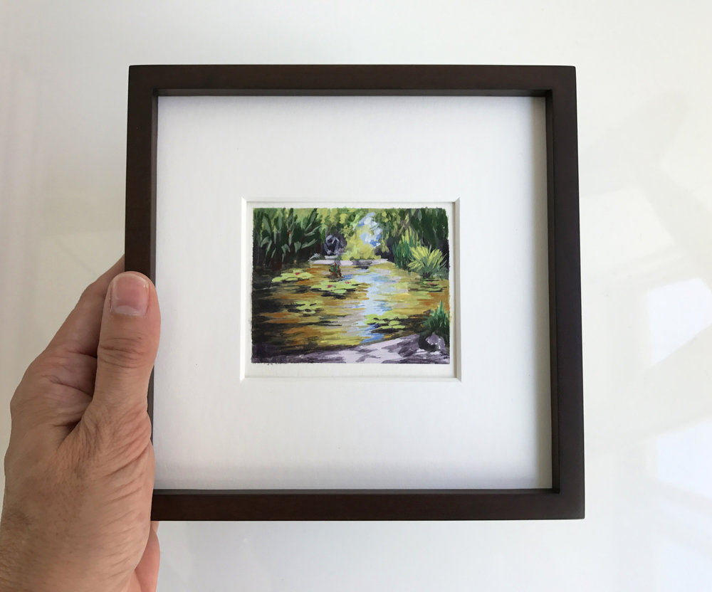 Little painting of the Lower Lily pond at the Huntington Gardens