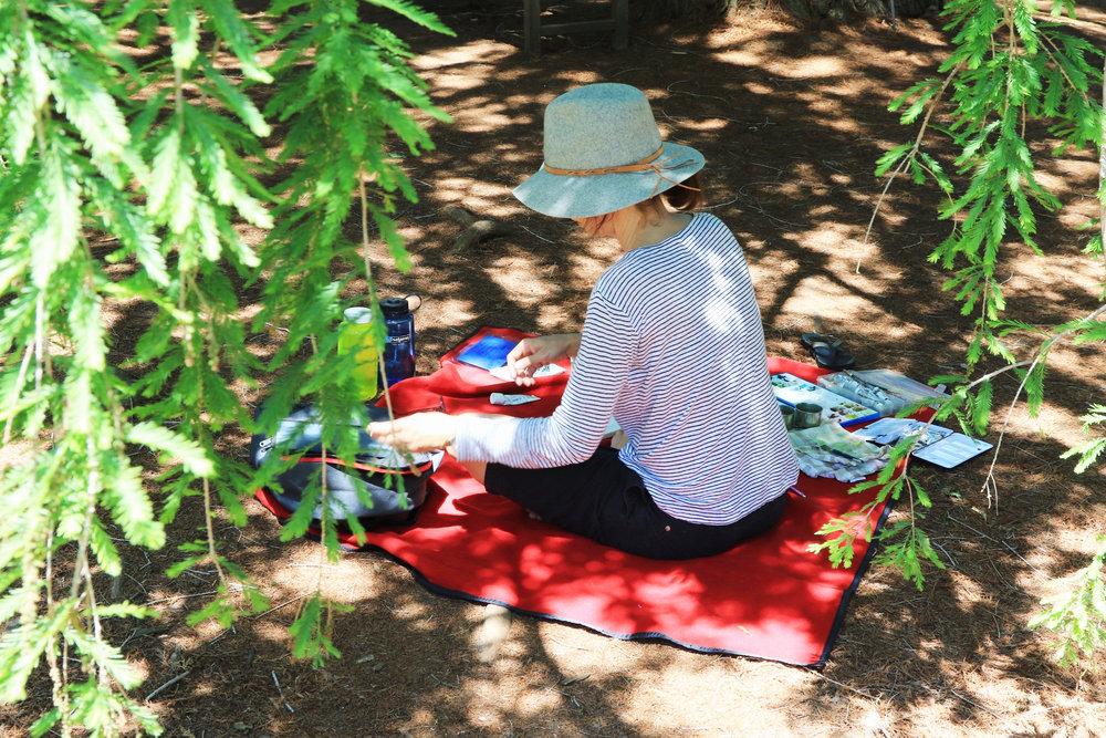 My Small Paintings artist Amanda painting plein air at the Huntington Gardens, CA
