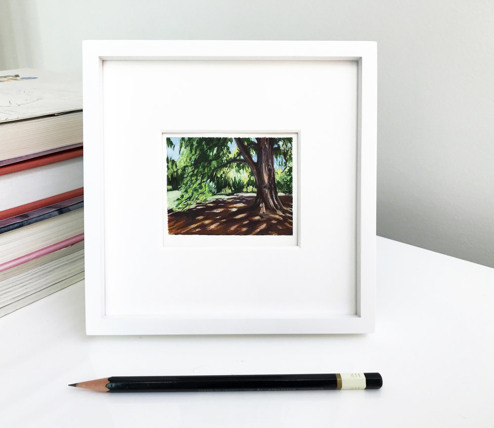 My Small paintings tiny art miniature framed watercolour plein air painting of shady tree with dappled sunlight shadows sunny Huntington Gardens summer
