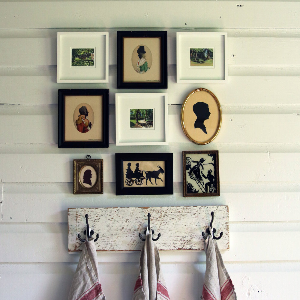 Three miniature paintings from My Small Paintings, gallery wall arrangement idea with silhouettes