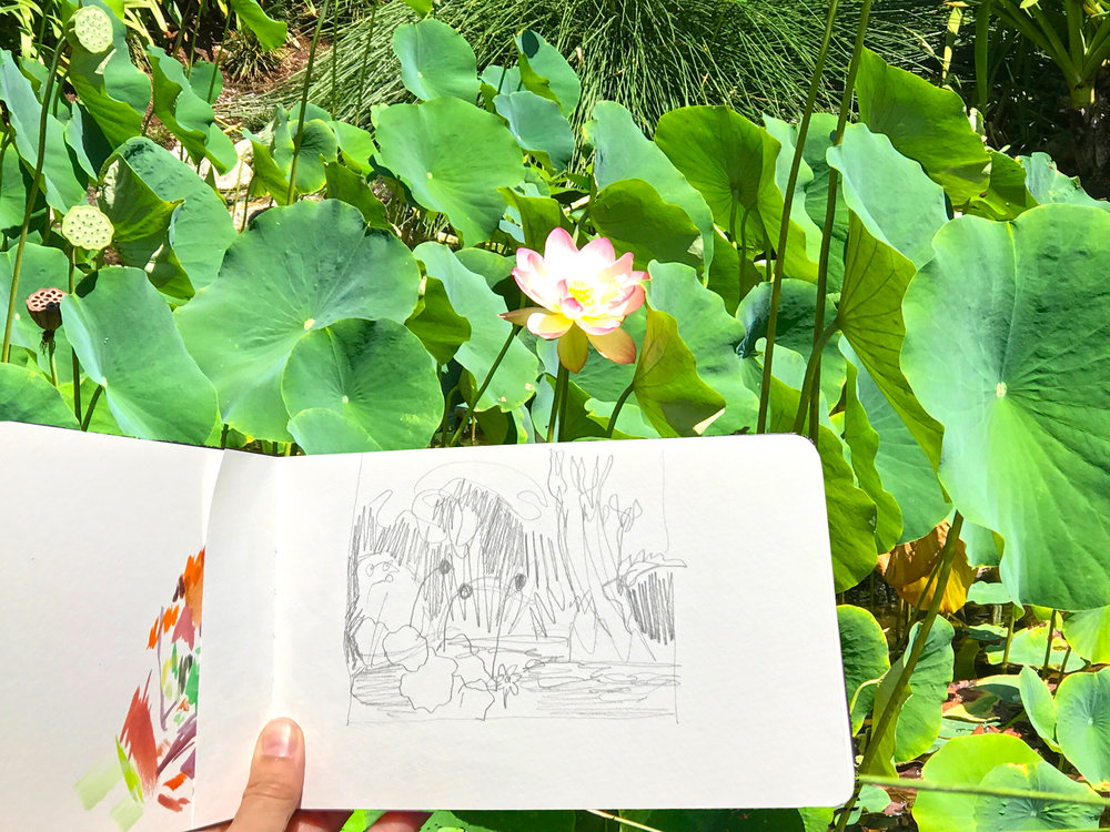 Skecthbook drawing for My Small Paintings at The Huntington Gardens