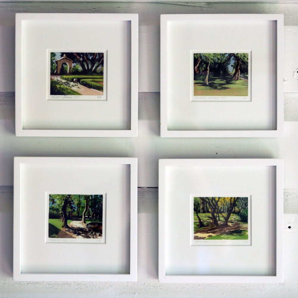 Four miniature paintings from My Small Paintings, gallery wall picture arrangement idea