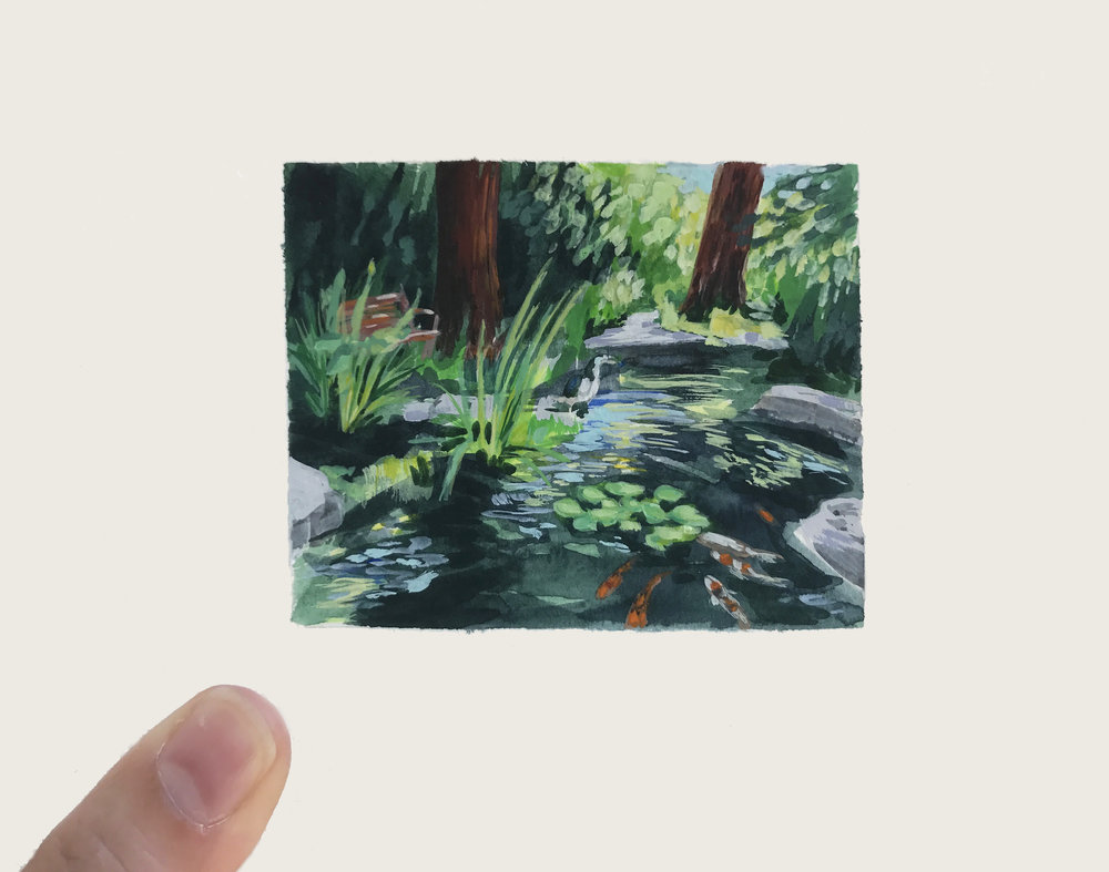 Commissioned painting by My Small Paintings miniature watercolour tiny art of sunny garden