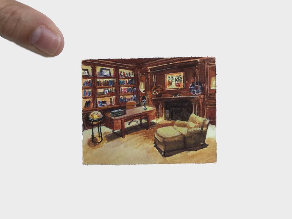 My Small Paintings miniaute watercolour commission of private library