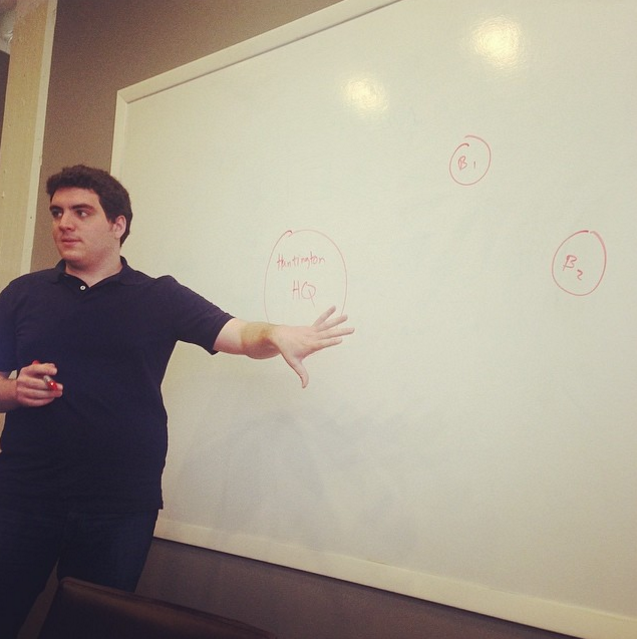 The SECURD team chooses the whiteboard instead of a deck for Startup Storytellers