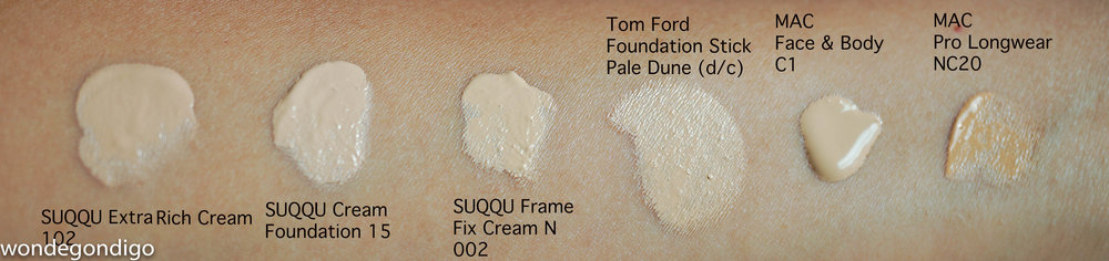 SUQQU Extra Rich Cream Foundation 102 Compared to other shades