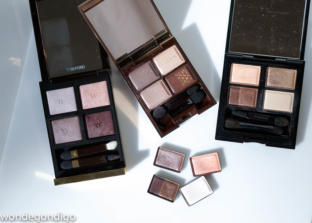 Left to Right: Tom Ford Enchanted, (on top) Lunasol Chocolat Raisin, (on bottom) SUQQU Himesango, SUQQU Kozuecha