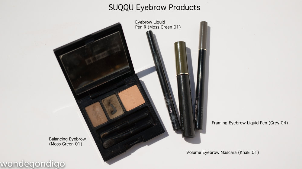 SUQQU's line up of eye brow products