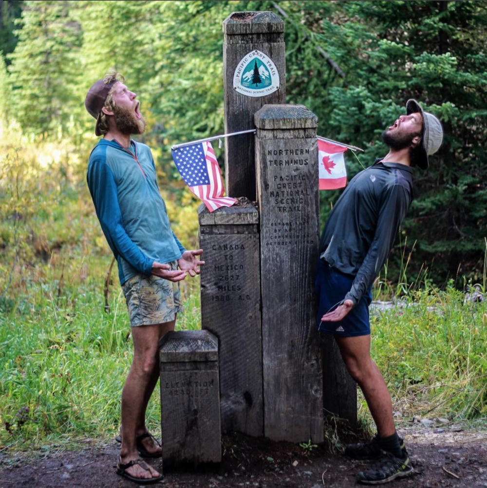 Caveman (Lucas) and Oilcan at the PCT's Northern Terminus
