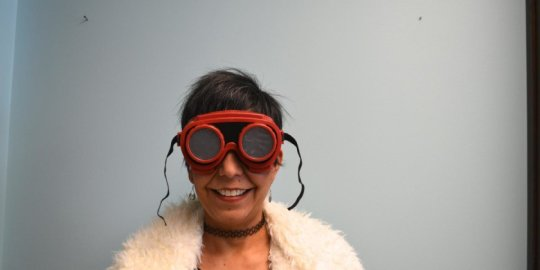 Dr. Michelle Nario-Redmond in low-vision simulation googles (Photo: Hiram College)