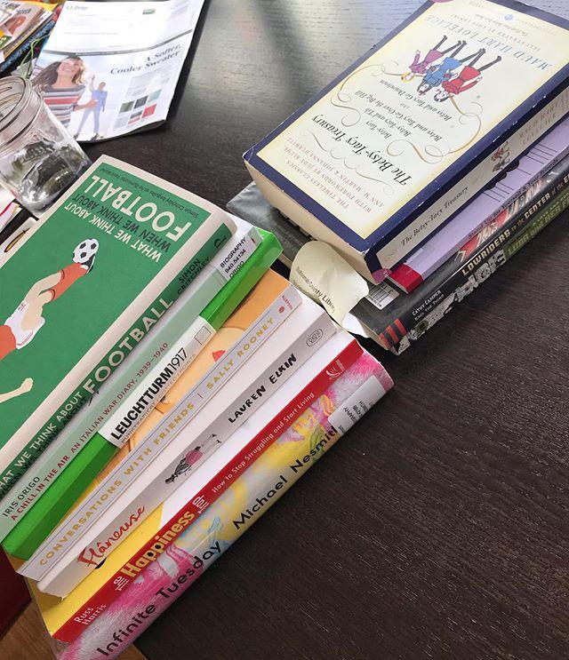 Spring break book stack