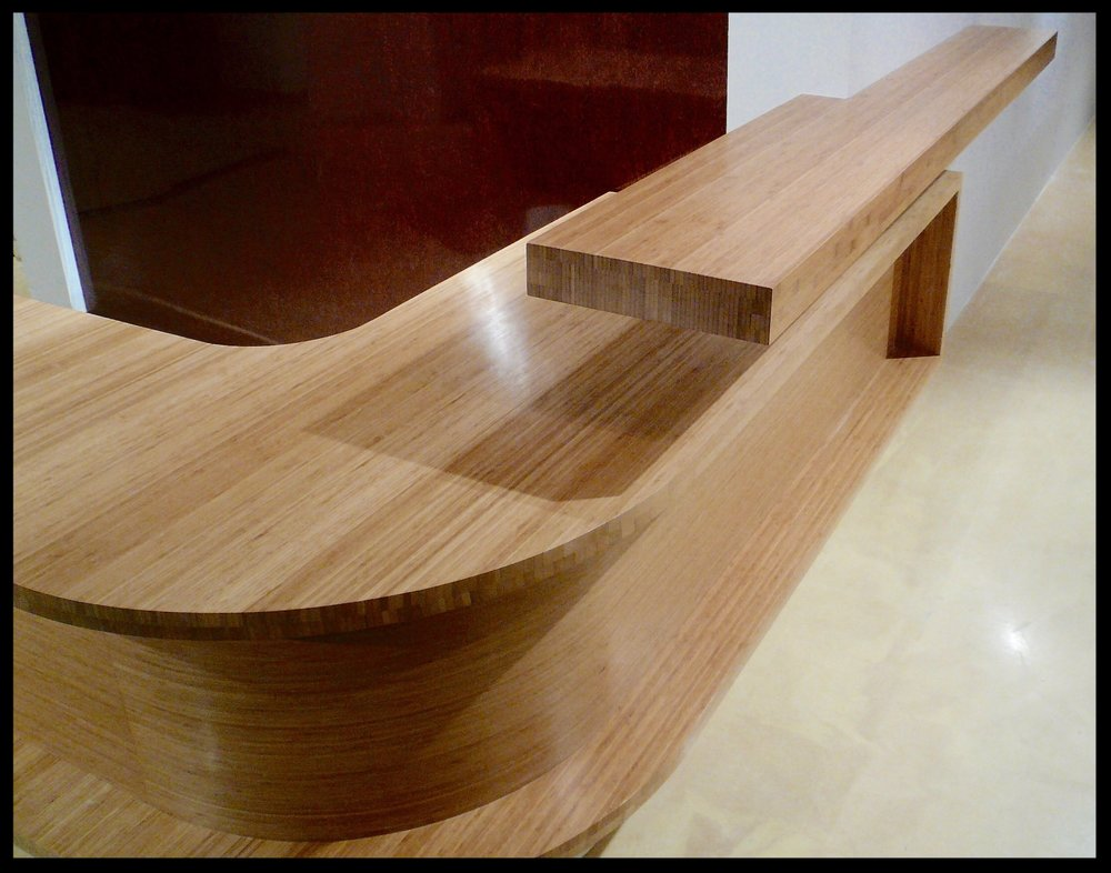 Bamboo Floating Reception Desk with Cantilevered Shelf - Gallery