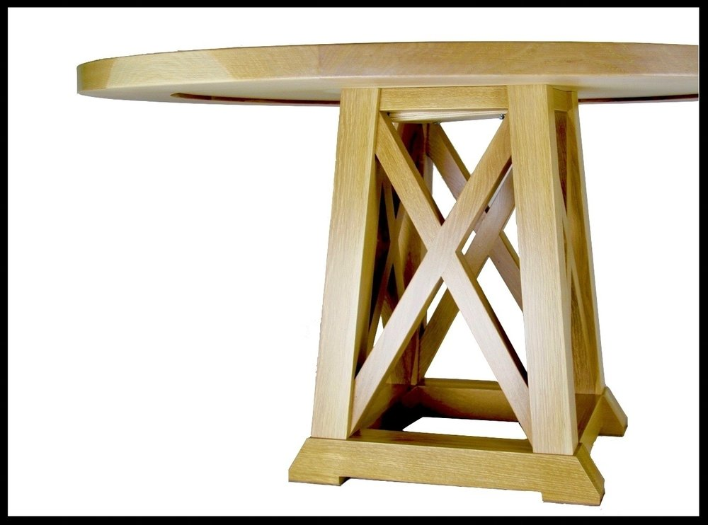 White Oak Dining Table with Crossbar Base - Process Gallery