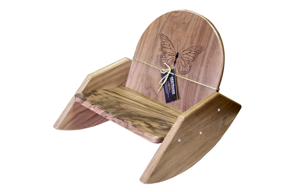 One-of-a-King Black Walnut Rocker with Hand-branded Monarch Butterfly