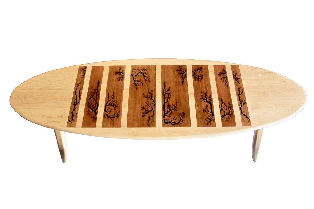 Tributary table - with Lichtenberg Figures