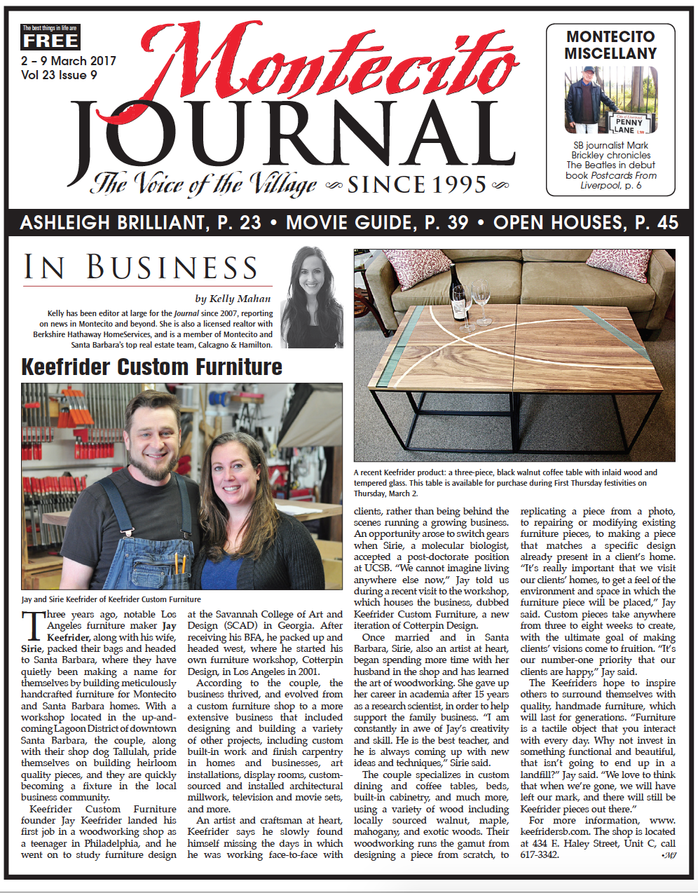 ON BUSINESS:  Keefrider Custom FurnitureMARCH 2ND, 2017 -