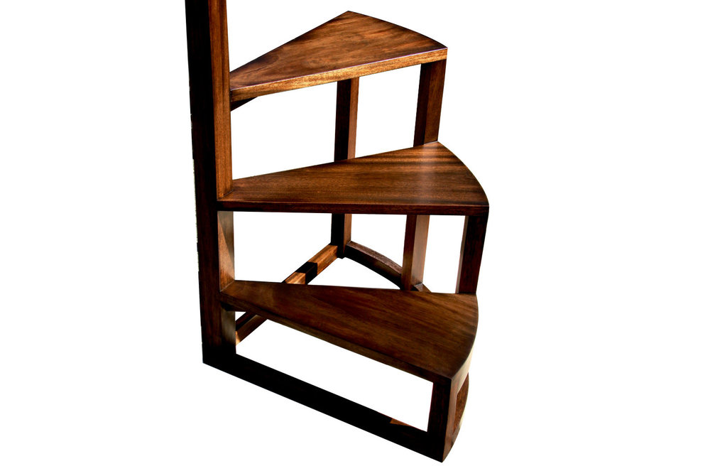 Radius library steps - with Hand-carved Upright
