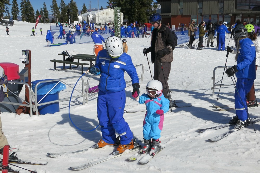 Too young for ski school but old enough for a ski lesson!