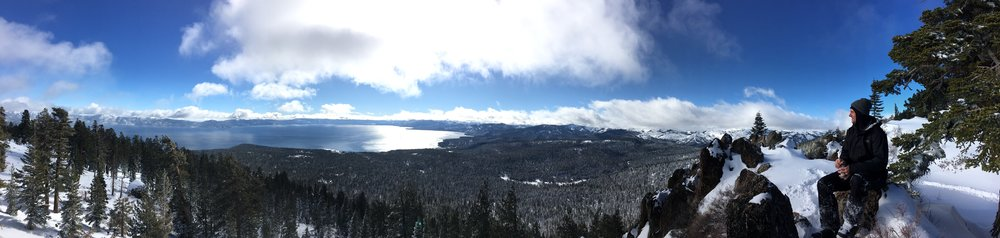 I originally wanted to name my dog Watson because I love this vista so much. One of the more popular destinations in the Tahoe/Truckee backcountry Watson peak is easily accessible by snowmobile but not limited to fat biking or X-country skiing either.