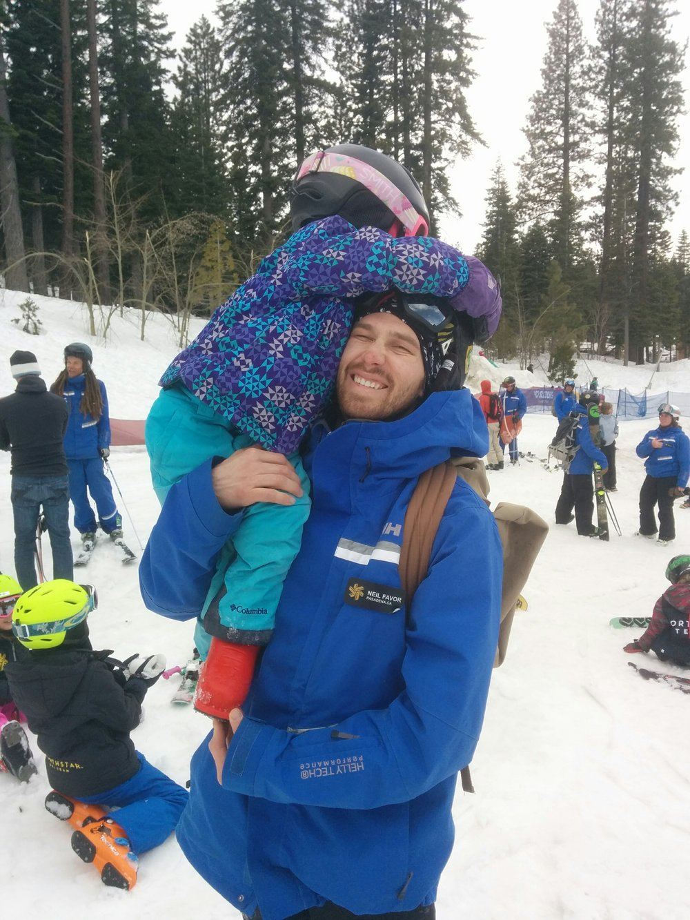 A typical day for Kelly means skiing and goofing off with her favorite coaches! Here she is with Northstar Ski Teams Coach Neil Favor.