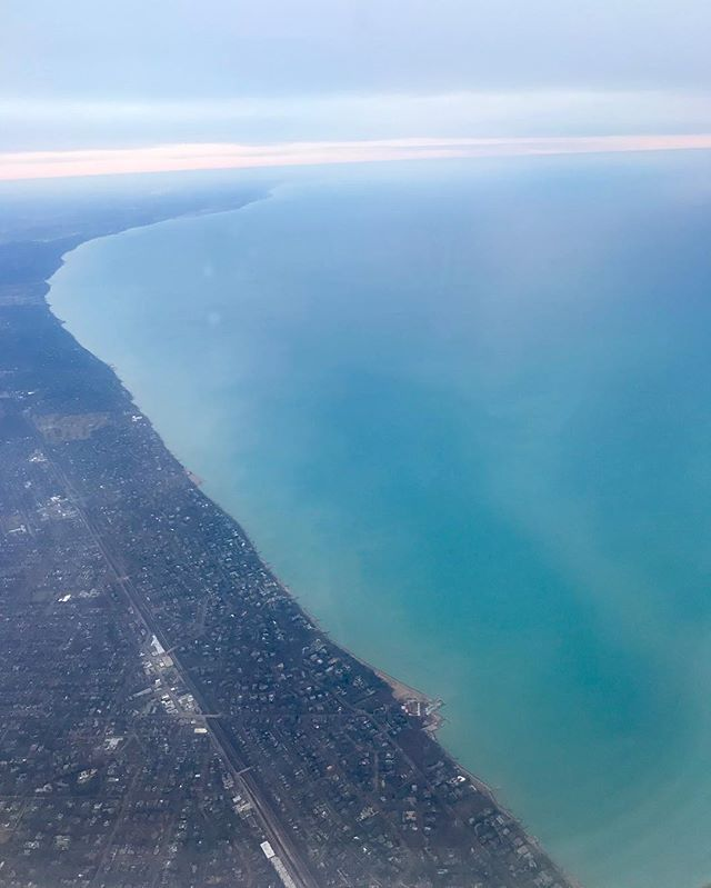 Flying from my home city Milwaukee to Chicago along the beautiful Lake Michigan. No salt needed :) #followthewater #lakemichigan #lake